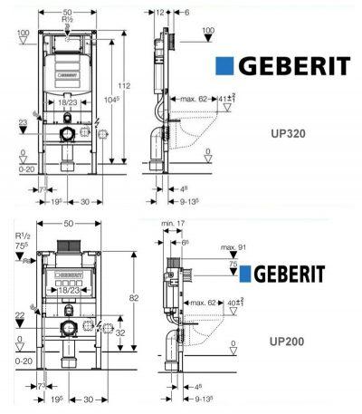 схема монтажа подвесного унитаза geberit